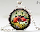 Songbird Necklace, Bird Art Pendant, Bird Jewelry, Songbirds Charm (444) - FrenchHoney