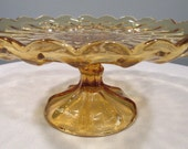 Vintage Amber Glass 1 footed Cake Plate made by Anchor Hocking for Fairfield - GoodBadandLovely