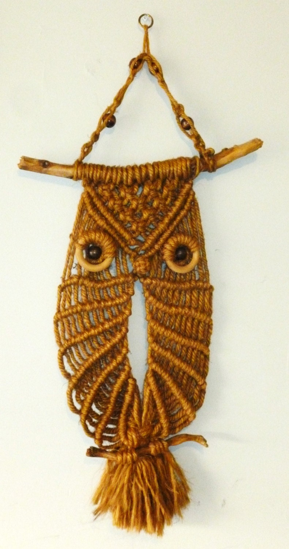 Vintage Jute Owl Macrame Wall Hanging
