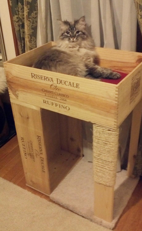 le condo de chat original caisse de vin avec chat. Black Bedroom Furniture Sets. Home Design Ideas