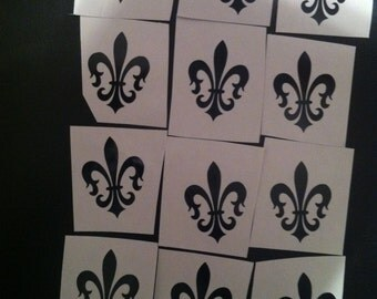 1.25 x 1.65 inch Pack of 12 Black Fleur de Lis Vinyl Decal's for wine glasses