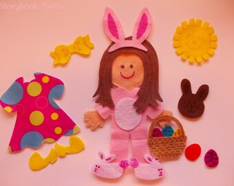 SHOP CLOSING SALE - Felt Doll Outfit Easter Girl Felt Doll Dress Up Set Without Doll Felt Doll Paper Doll