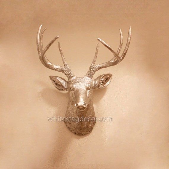 Silver resin deer head faux deer head faux by whitestagdecor - Silver stag head wall mount ...