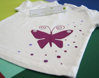 Girl t-shirt short sleeve with butterflies hand painted
