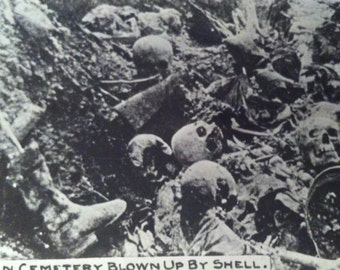 WWI RPPC German Cemetery-German Cemetery Blown Up by Shell