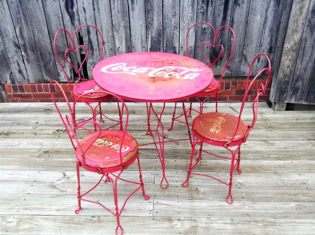 Sold To Stacey Vintage Coca Cola Ice Cream Parlor Table And