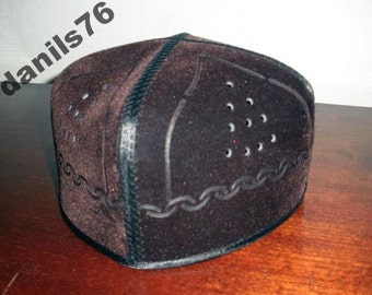 VINTAGE UZBEK SKULL-cap  False Leather