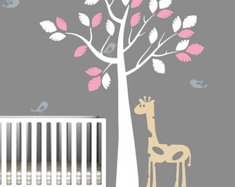 Nursery Wall Decal with Birds and Giraffe, Vinyl Sticker for Nursery