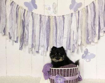 Lavender Rag Tie Banner, Burlap, Lace, Lavender, Shabby Chic, Rag Tie Garland, Fabric Garland, Photo Prop, Wedding, Bridal Shower, Custom