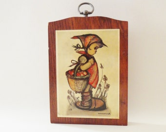 Vintage Hummel Print on Wood - Basket of Apples - Wall Hanging - Wall Decor - Kitsch