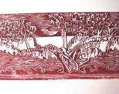 Dark Red Cypress Tree Print