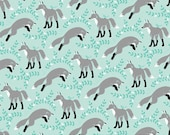 Socks the Fox Aqua - Michael Miller Fabrics - One Half  Yard - PS5794