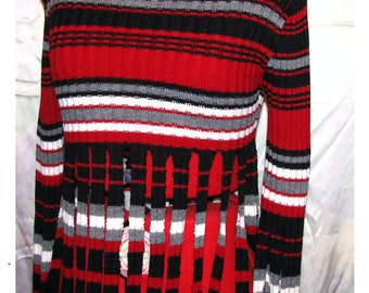 Black-white-red&gray de/reconstructed sweater