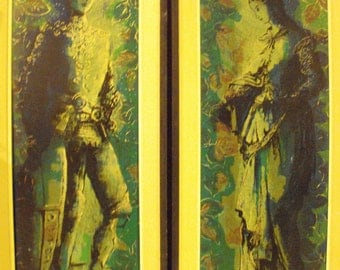VERY rare Vintage pair of Original Ann Cochran Art Lore Serigraphs both numbered of King Arthur & Guinevere