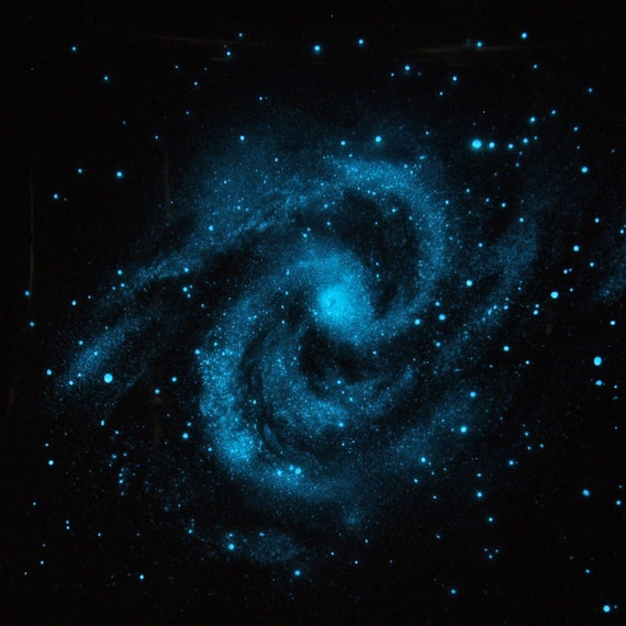 Glow in the dark star spiral galaxy poster transparent star for Glow in the dark galaxy fabric