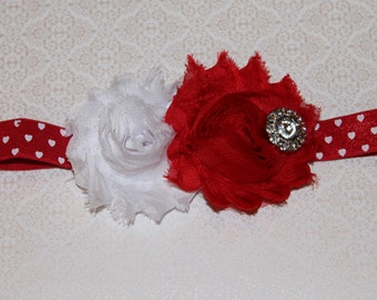 Valentine's Day Red and White Heart Baby/Infant/Newborn Headband, Makes Great Photo Prop