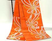 Silk Fukuro Obi in vivid orange with knotted rope design