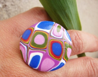 Retro ring. Handmade round retro ring with polymer clay