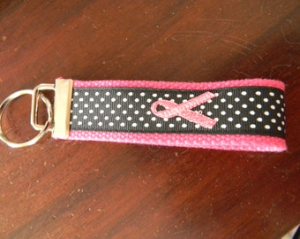 Pink Ribbon Embroidered Keychain/Wristlet