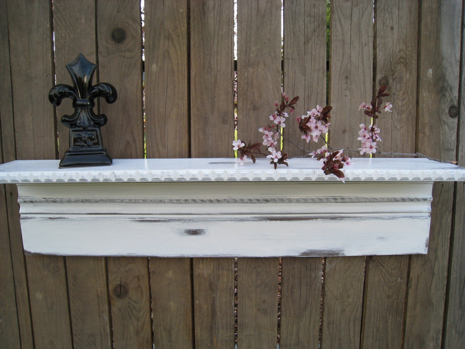 White Distressed Wood Wall Shelf With Dentil Molding