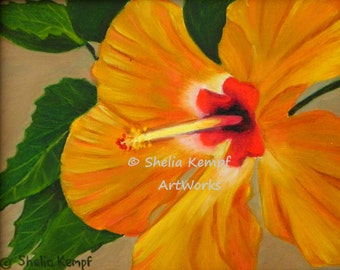 Golden Glow - Print of Gold Hibiscus Flower