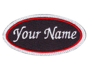 Oval Custom Embroidered Name Tag Patch (C)