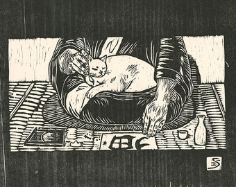 I am a cat- Original hand-pulled woodblock print