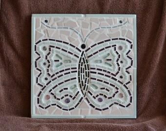 Mosaic Decorative Art Tile, Pastel Butterfly