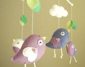 """Baby crib mobile, Bird mobile, felt mobile, nursery mobile, baby mobile, girl mobile """"Bird - purple"""""""