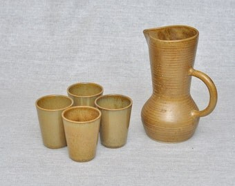 4 Vintage French Hot Wine Cups and Jug Pichet Digoin Glazed Ceramic grespots Signed