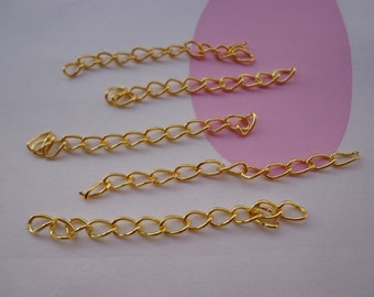 50pcs of 4.5-5cm Long x 3mm wide Exquisite plated Gold Tail Chain