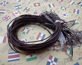 SALE--20 pcs 16-18 inch adjustable 2.0 mm thickness dark brown genuine(real) leather necklace cords with lobster clasps