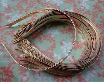 Gold headbands--10 pcs 6 mm gold metal headbands