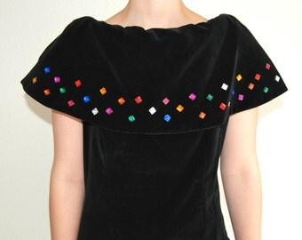 80's Black Velvet Embellished Party Dress Size 6