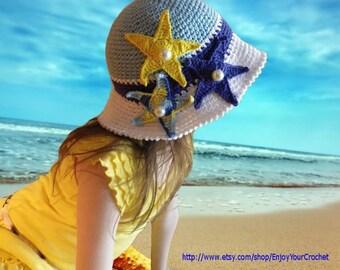 CROCHET HAT PATTERN-Summer Hat Pattern, Baby Beach Hat, Crochet Sun Hat, Summer Hat, Child, Brim, Ocean, Starfish, Sea Star,Baby, Girl, Kids