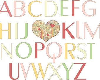 Alphabet Heart for Baby's Room/ nursery Digital Download