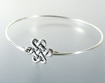 Silver Eternity Knot Bangle Bracelet, Silver Bangle Bracelet, Wedding Jewelry Bracelet, Bridesmaid Jewelry, Eternity Bracelet (123S,)