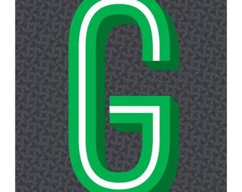 The Letter G, Original Art Print, Typography, Alphabet