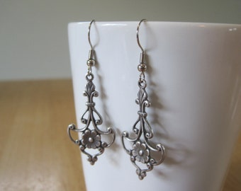 Silver Dangle and Flower Earrings