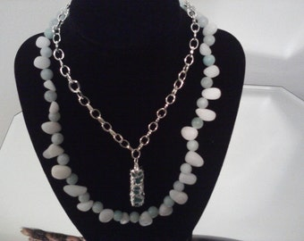 stone and silverpl chain double necklace