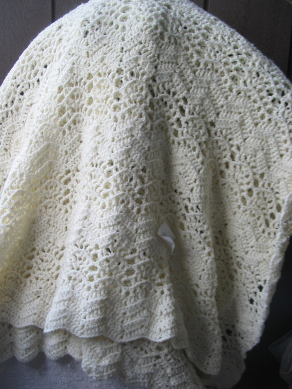 Crochet Lap Blanket : crochet lap/twin blanket in cream color