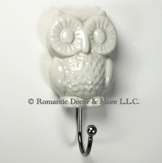 Items Similar To 1 White Ceramic Owl Wall Hook For Kitchen Bedroom Bath Hand Painted