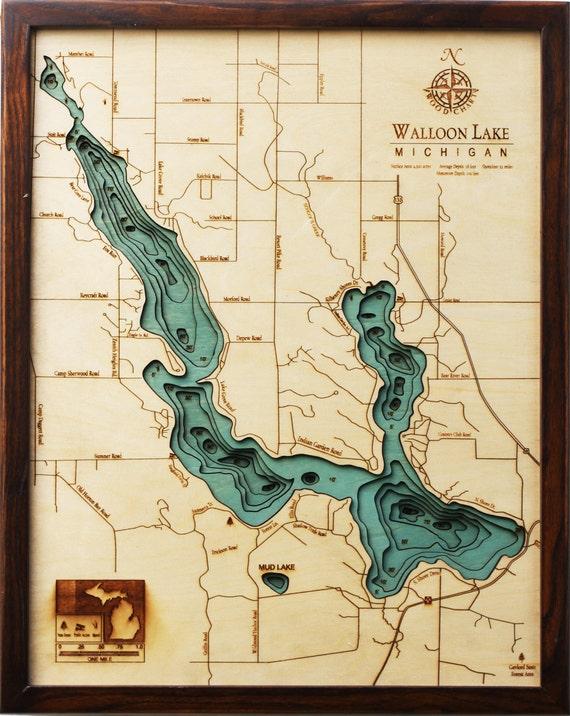 "WALLOON LAKE, MICHIGAN 16"" x 20"", Laser-Cut, 3-Dimensional Topographic Wood Chart/Lake Art Map"