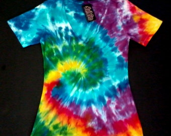 Spiral Tie Dye V Neck Junior 7oz Shirt
