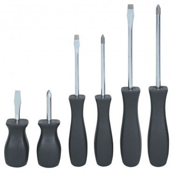 6 pc screwdriver set magnetic tip phillips and flat head. Black Bedroom Furniture Sets. Home Design Ideas