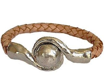 Natural Tan Leather Braided Wrap Bracelet - Antique Silver Hammered Magnetic Clasp Closure