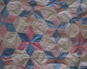SALE beautiful six point star handpieced quilt top