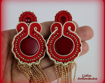 red embroidered earings,hand embroidered jewelry,soutache,gift,soutache earrings,coral,red,24k gold