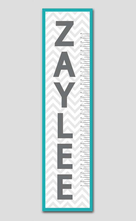 Personalized Teal & Grey Chevron Growth Chart-Vinyl Print, Growth Charts for Babies, Girl or Boy, Nursery and Children Decor