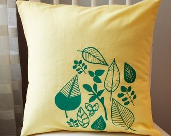 SALE 16x16 Lemon Yellow and Green Leaf Pillow